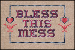 Bless This Mess Doormat - 19x30 Funny