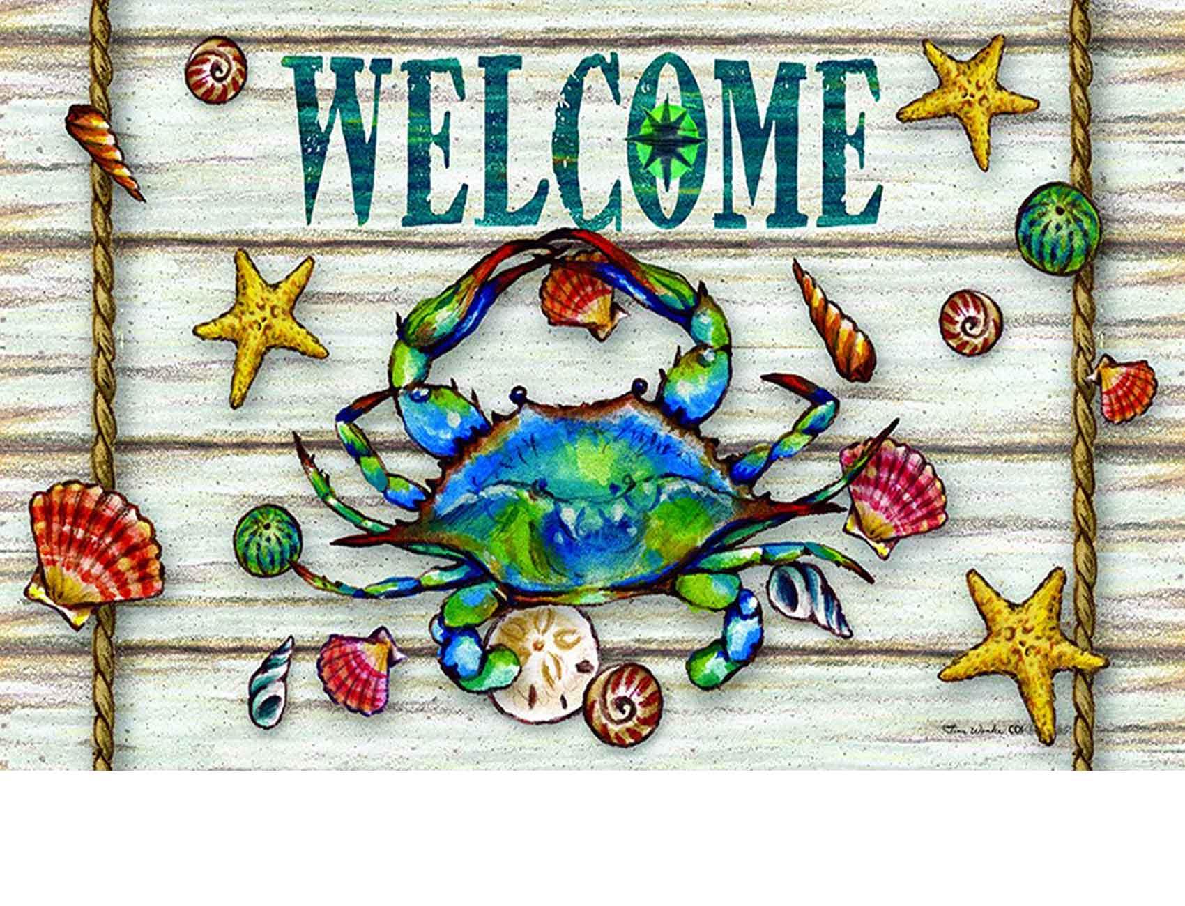 Indoor Amp Outdoor Blue Crab Welcome Insert Doormat 18 X 30