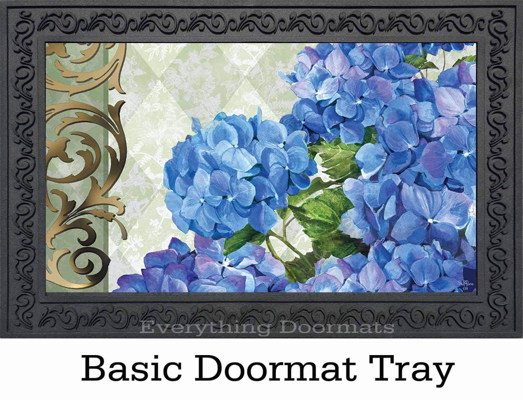 Indoor Amp Outdoor Blue Hydrangea Insert Doormat 18x30