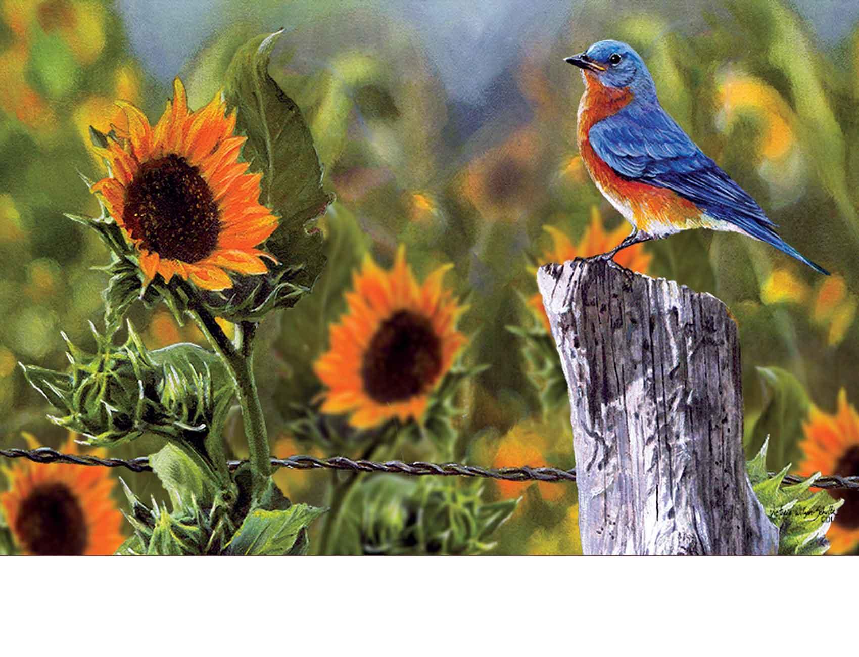 Indoor Amp Outdoor Bluebird Sunflowers Insert Doormat 18x30