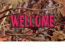 Indoor & Outdoor Camo & Pink Welcome Insert Doormat