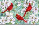 Trellis Embossed Cardinals & Dogwood Doormat - 19 x 30