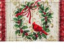 Floral Embossed Cardinal Holly Wreath Doormat - 19 x 30