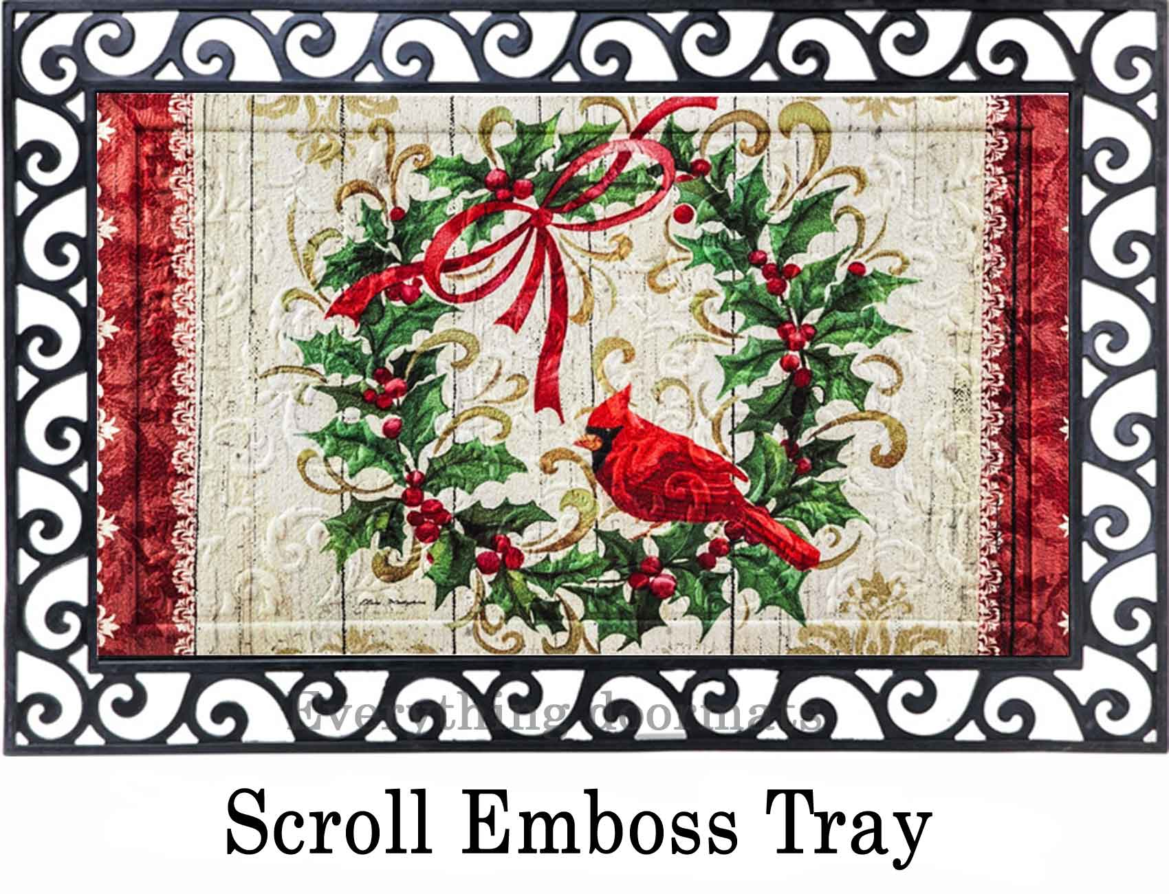 sc 1 st  Everything Doormats & Floral Embossed Cardinal Holly Wreath Doormat - 19 x 30