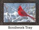 Indoor & Outdoor Cardinal in Snow MatMate Doormat-18x30