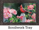 Indoor & Outdoor Cardinal with Roses MatMate Doormat-18x30