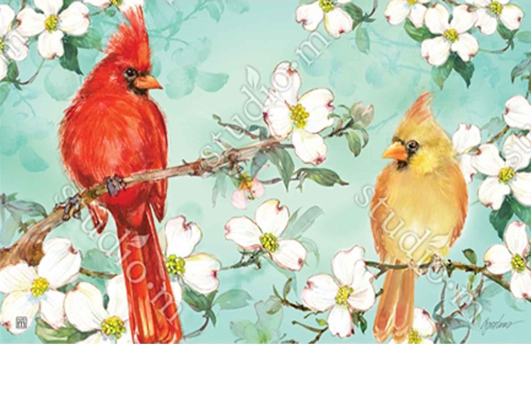 Indoor Amp Outdoor Cardinals In Spring Matmates Doormat 18x30