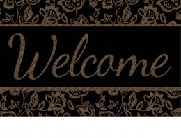 Hatch Embossed Classical Welcome Dimensions Doormat