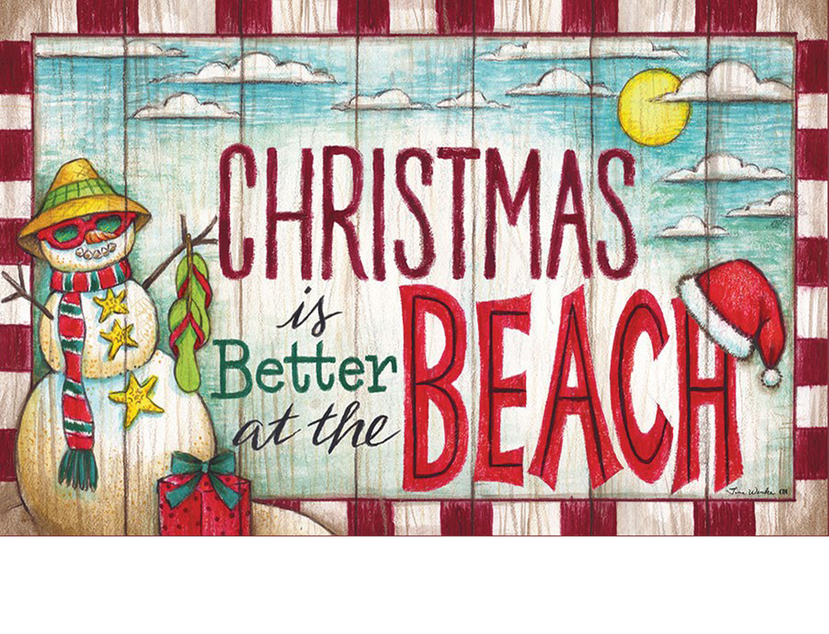 indoor outdoor christmas at the beach insert doormat - Christmas At The Beach