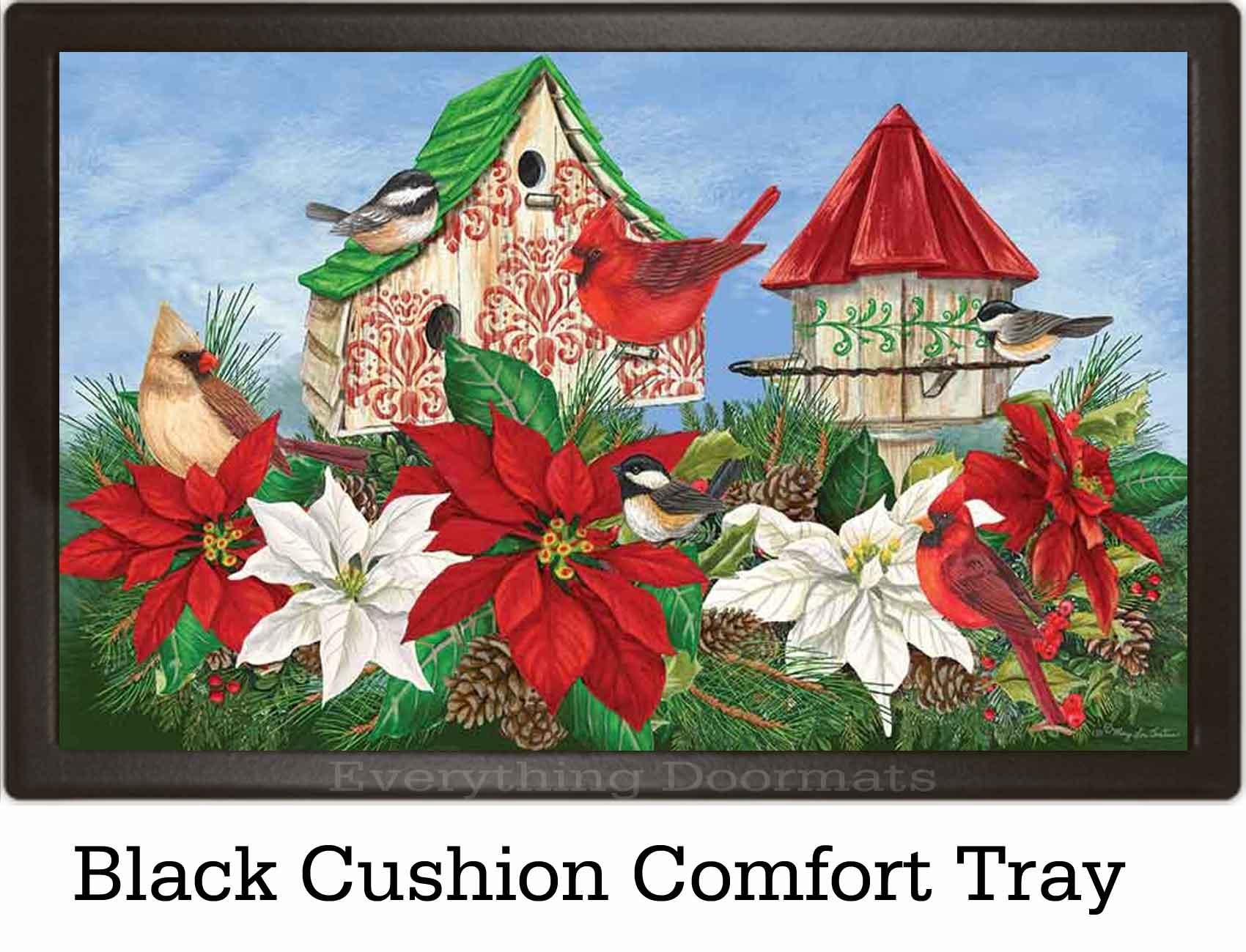 Christmas Birdhouses.Indoor Outdoor Christmas Birdhouses Insert Doormat 18x30