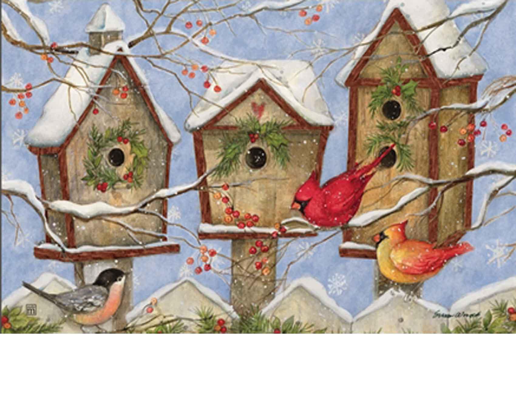 Indoor Amp Outdoor Christmas Birdhouse Matmates Doormat