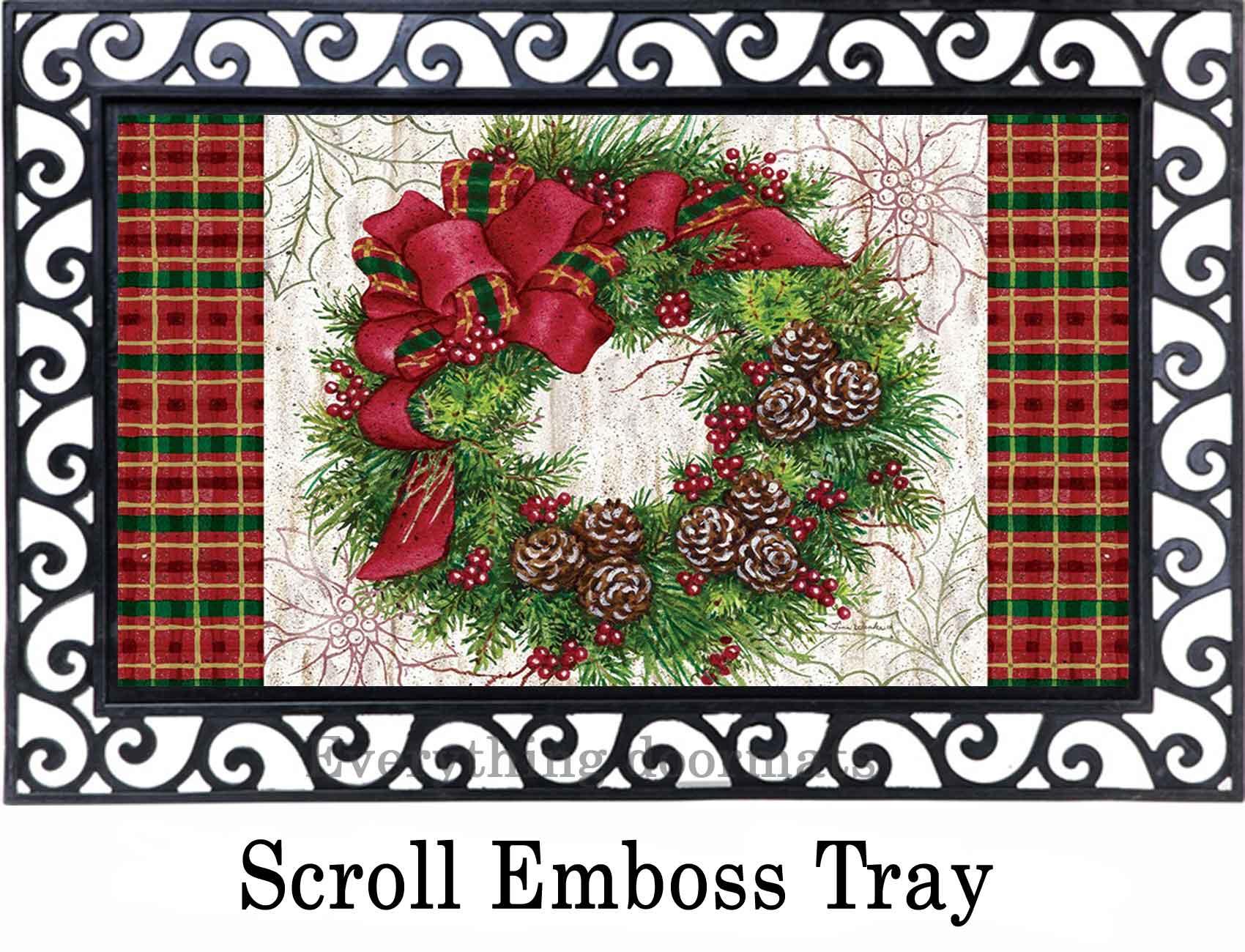 Indoor Amp Outdoor Christmas Wreath Insert Doormat 18x30