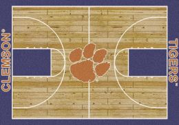 Clemson Tigers Basketball Home Court Area Rug