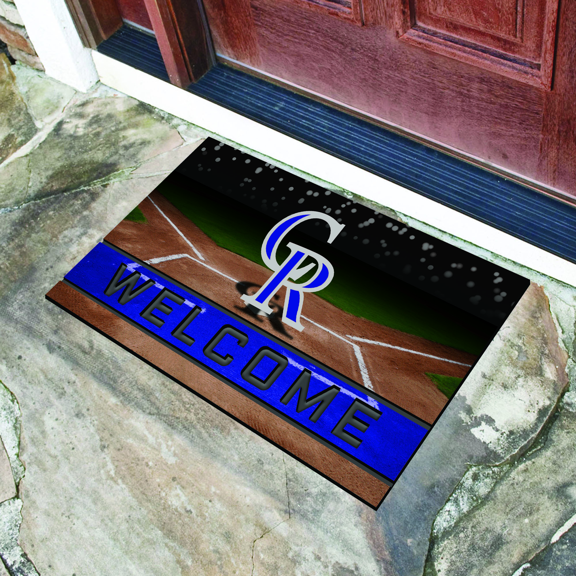 Colorado Rockies Flocked Rubber Doormat - 18 x 30