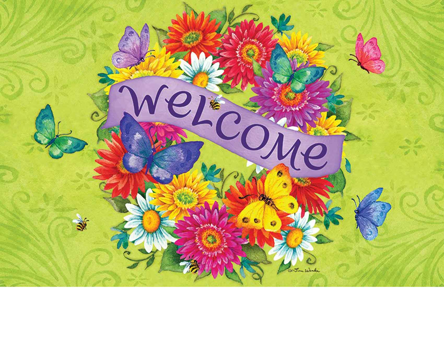 sc 1 st  Everything Doormats & Indoor u0026 Outdoor Daisy Wreath Insert Doormat-18x30