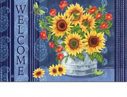 Indoor & Outdoor Denim Sunflower MatMate Doormat-18x30