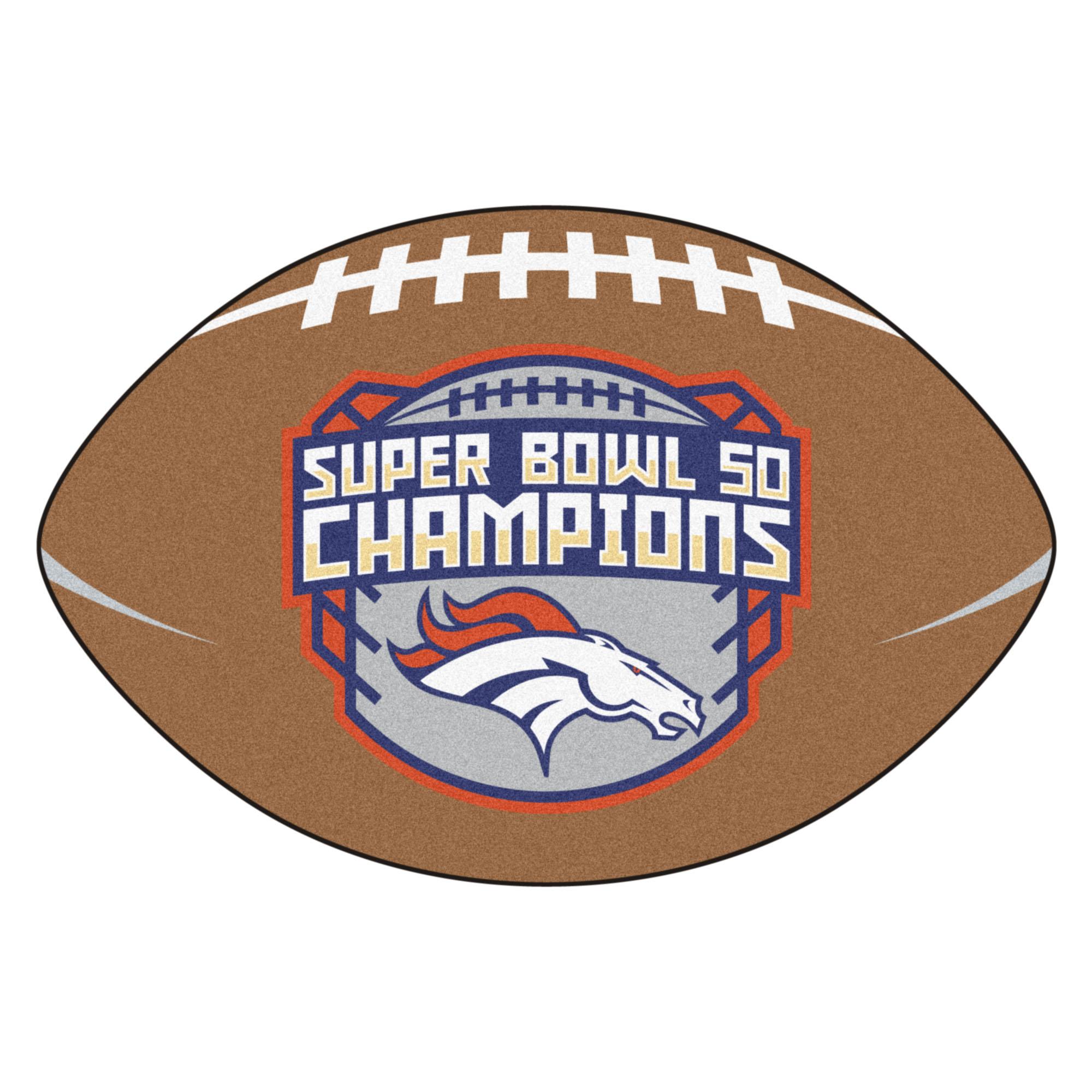 Denver Broncos Super Bowl 50 Football Shaped Nylon Area Rug
