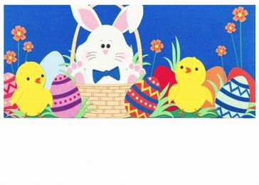 Sassafras Easter Bunny and Chicks Switch Doormat - 10 x 22 Insert
