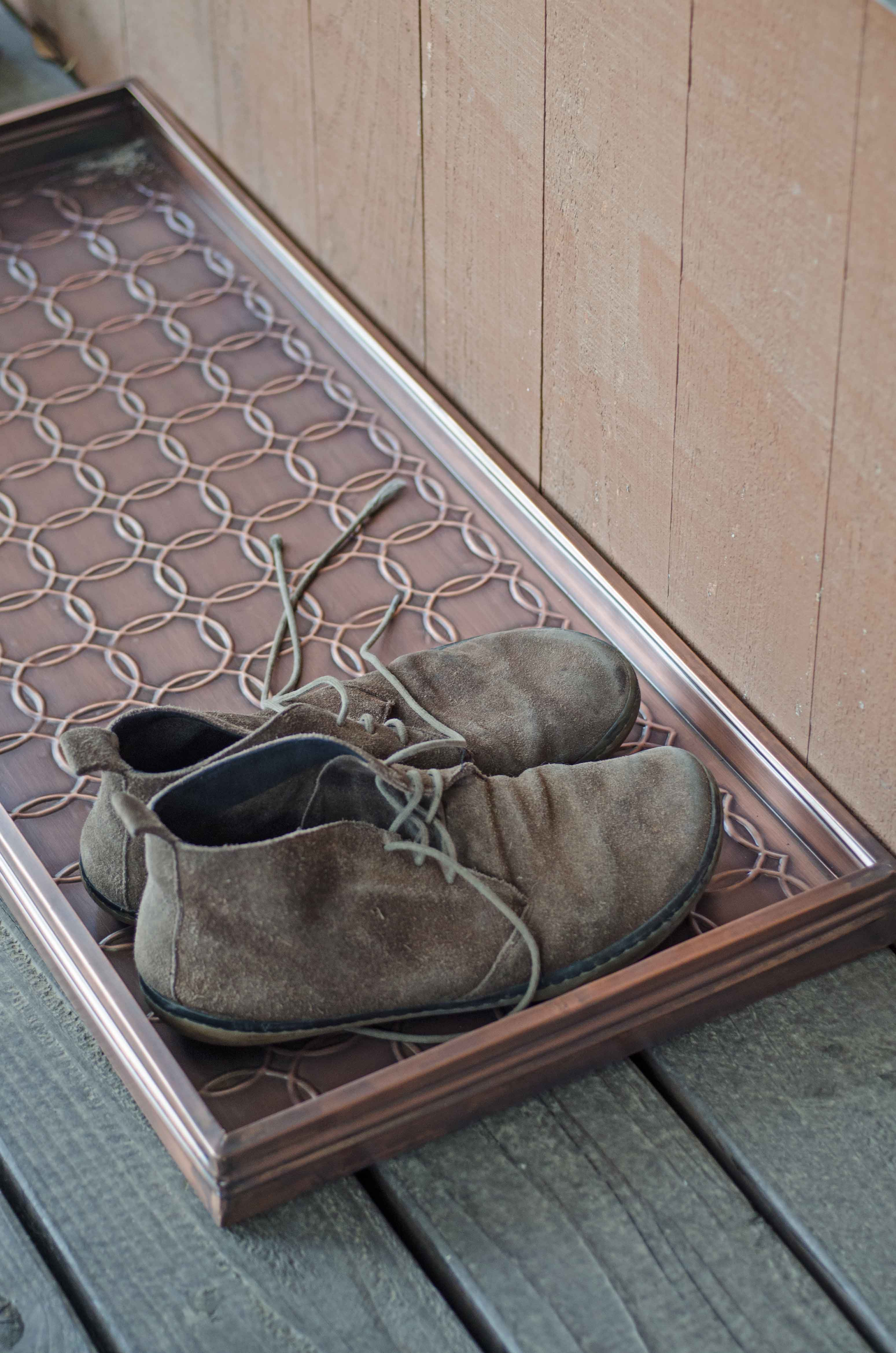 Embossed Circles Copper Finished Boot Tray 34 X 14 X 2 5