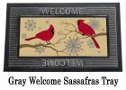 Sassafras Feathers & Snow Switch Insert Doormat - 10 x 22