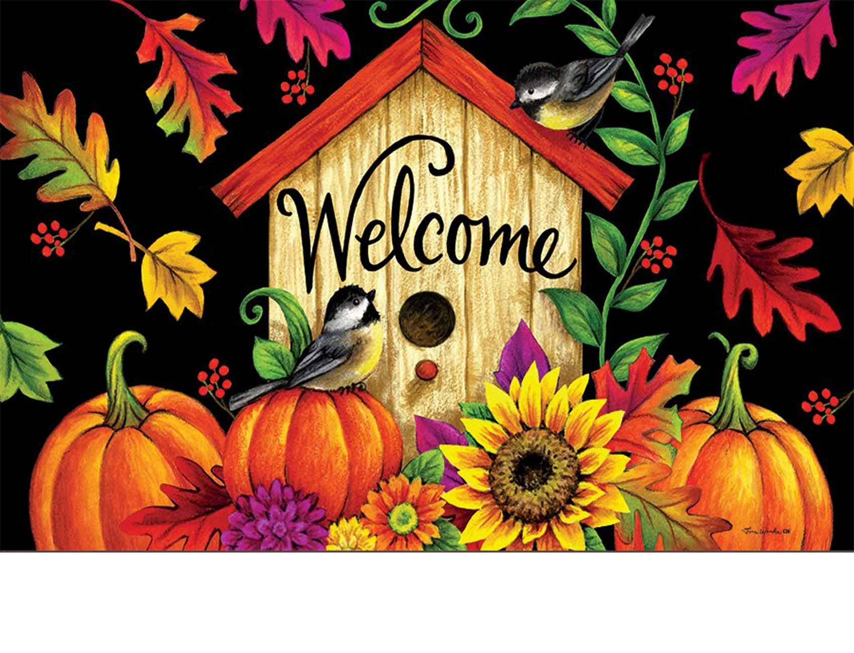 Indoor Amp Outdoor Fall Birdhouse Insert Doormat 18x30