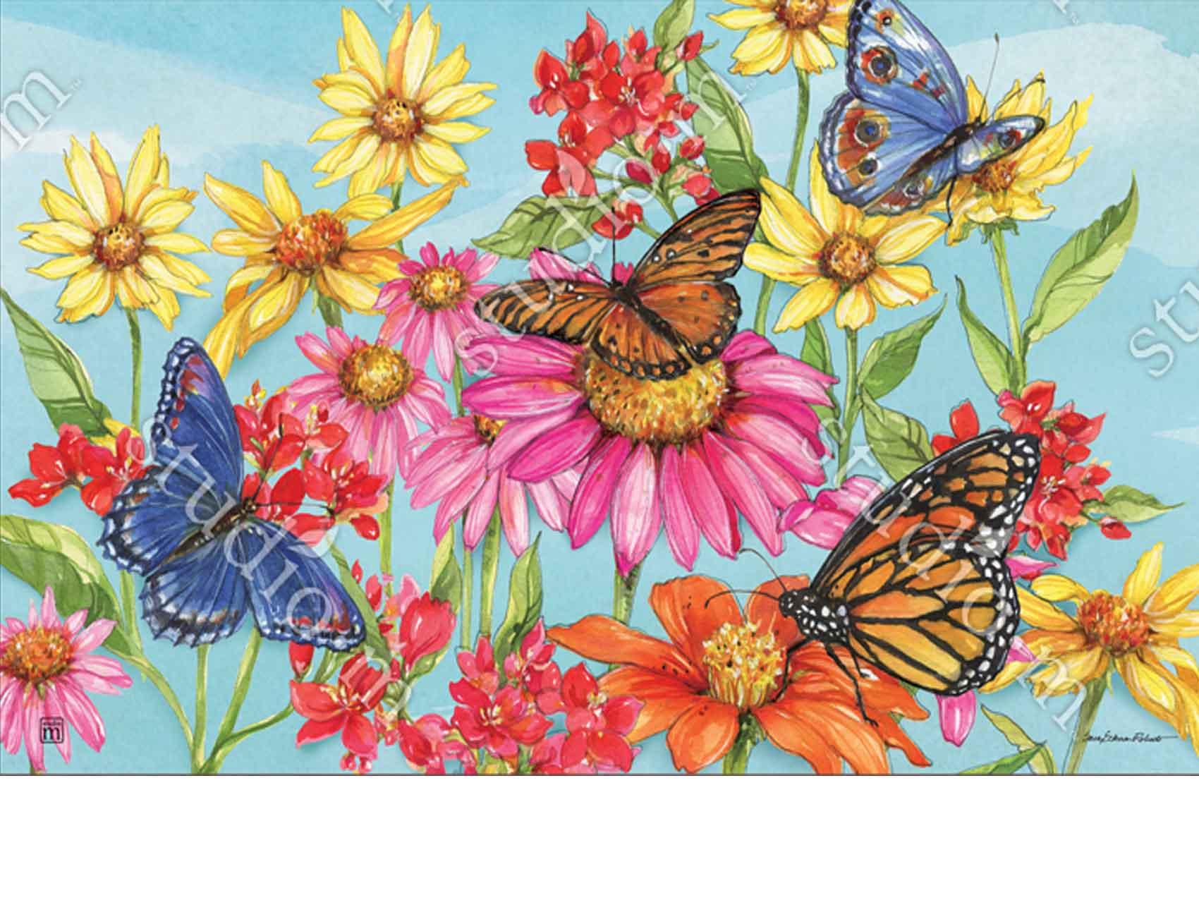Indoor Amp Outdoor Field Of Butterflies Matmates Doormat 18x30