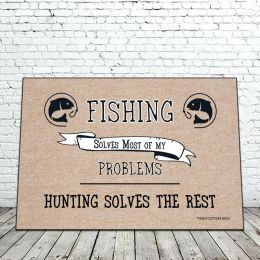 Fishing Solves Most of My Problems Doormat - 18 x 30 Funny