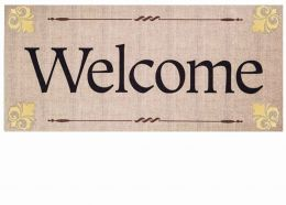 Sassafras Fleur De Lis Welcome Switch Mat - 10 x 22 Doormat