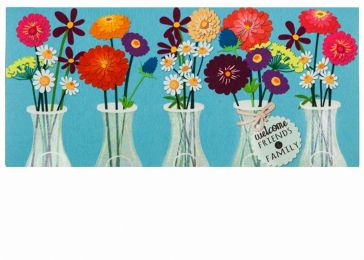 Sassafras Floral Milk Bottles Switch Mat - 10 x 22 Insert Doormat
