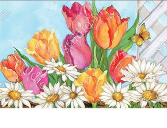 Indoor & Outdoor Fresh Tulips MatMate Doormat-18x30