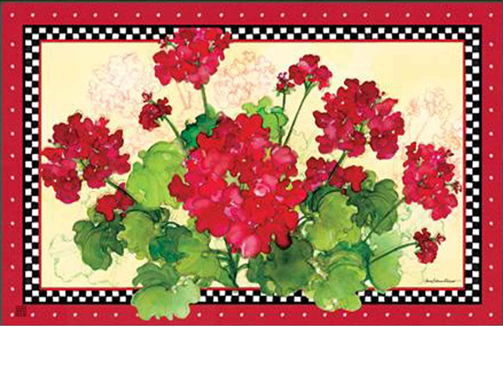 Indoor Amp Outdoor Geraniums Amp Checks Matmate Doormat