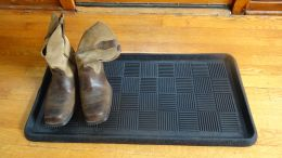 Grid Embossed Natural Rubber Boot Tray - 32 x 16 x 1