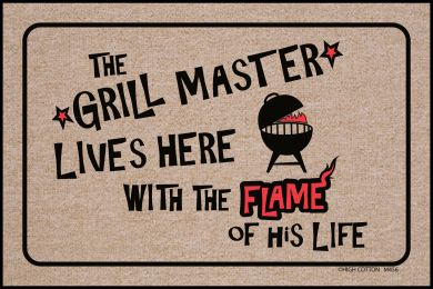 Grill Master Lives Here Doormat-19x30 Funny