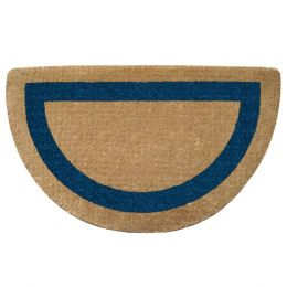 Half Round Blue Frame Natural Plain Coir Doormat