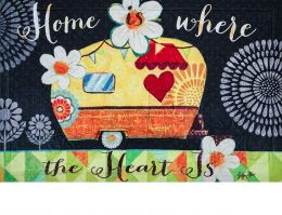 Floral Embossed Home Heart Dimension Doormat - 19x30