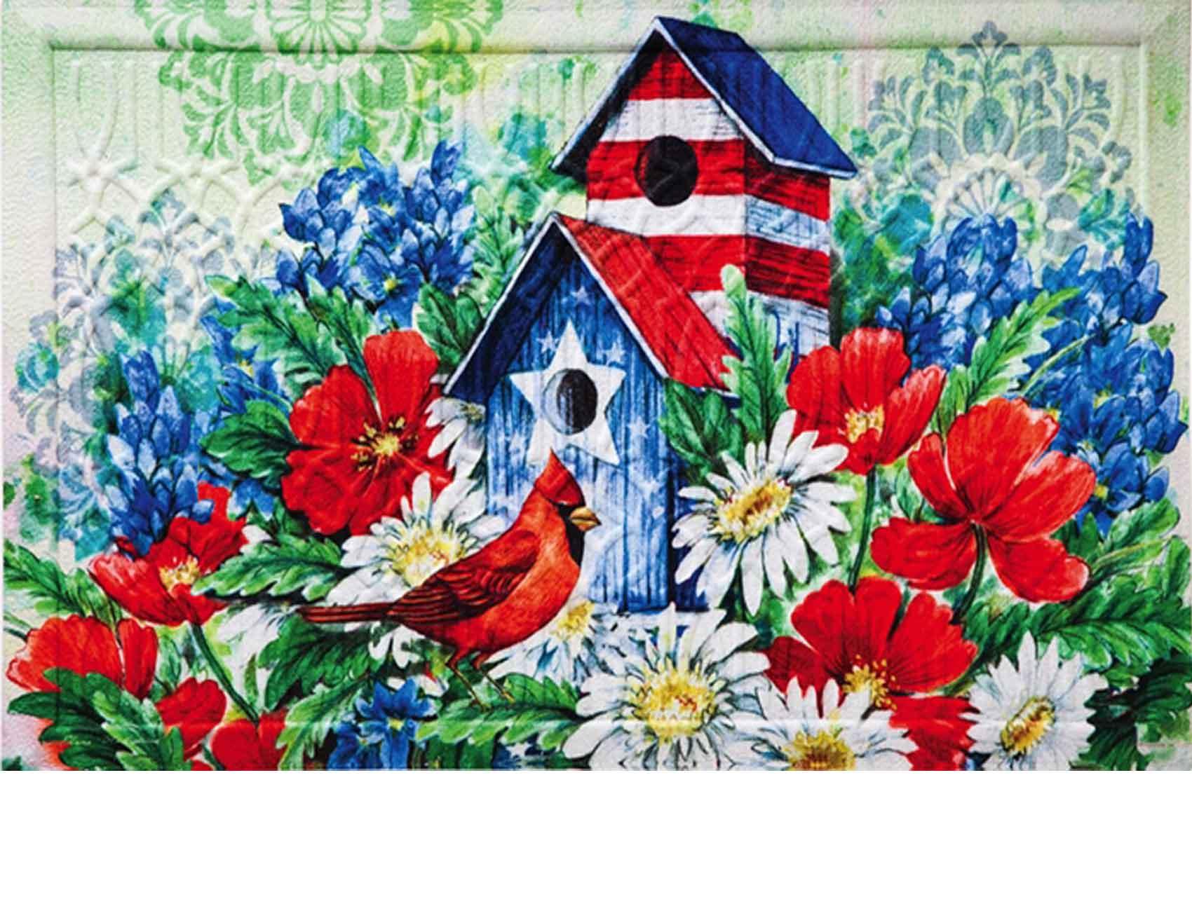 Trellis Embossed Patriotic Birdhouse Doormat 19 X 30