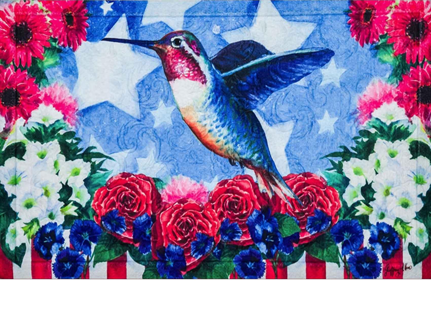 Floral Embossed Patriotic Hummingbird Dimension Doormat