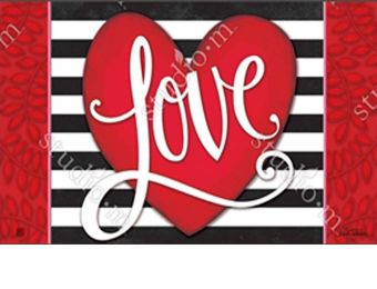 Indoor & Outdoor Heart with Stripe MatMate Doormat-18 x 30
