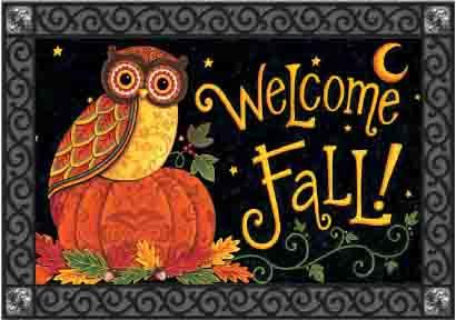 Indoor Amp Outdoor Insert Doormat Fall Owl