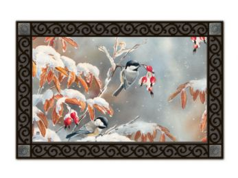 Indoor & Outdoor MatMates Doormat - Winter Day Chickadees