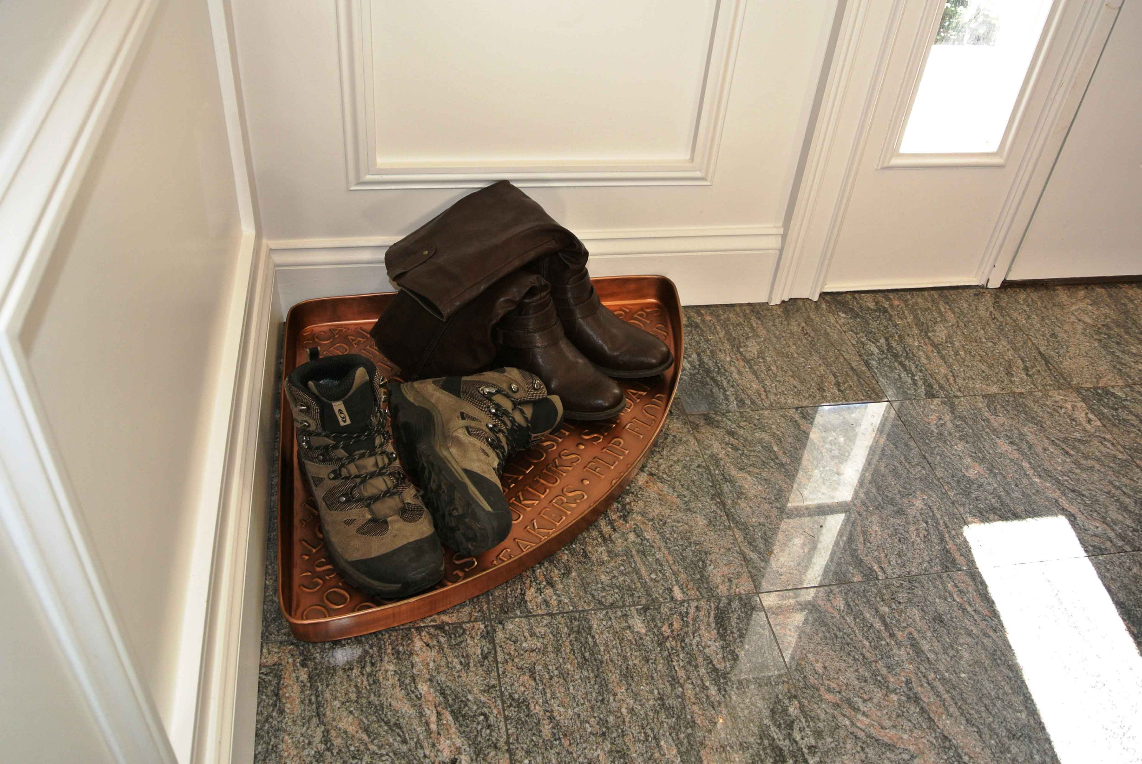 Attractive Embossed International Copper Corner Boot Tray - 22 x 31 x 2 MM52