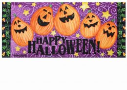 Sassafras Jack-o-Lantern Welcome Switch Doormat - 10 x 22