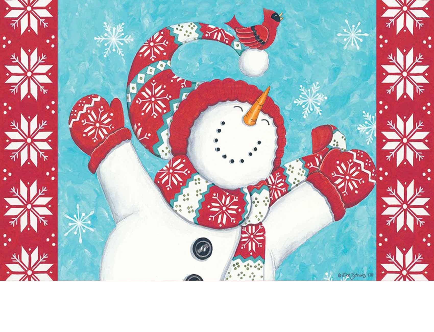 Indoor Amp Outdoor Joyful Snowman Insert Doormat 18x30