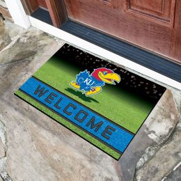Kansas  University Flocked Rubber Doormat - 18 x 30