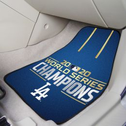 LA Dodgers 2020 World Series Champs 2pc Carpet Car Mat Set - Nylon & Vinyl