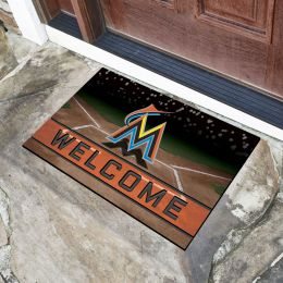 Miami Marlins Flocked Rubber Doormat - 18 x 30