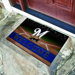 Milwaukee Brewers Flocked Rubber Doormat - 18 x 30