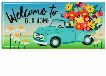 Sassafras Mint Flower Truck Switch Mat - 10 x 22 Insert Doormat