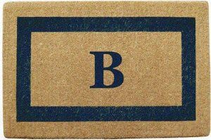 Monogrammed Blue Picture Frame Coco Coir Doormat