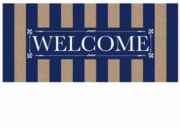 Sassafras Navy Stripe Welcome Burlap Switch Mat - 10 x 22 Insert